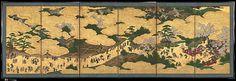 東山遊楽図屏風<br/>Amusements at Higashiyama in Kyoto - Artist: Kano School Period: Edo period (1615–1868) Date: ca. 1620s Culture: Japan Medium: Pair of six-panel screens; ink, color, gold, mica, and gold leaf on paper