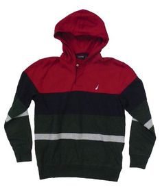 Nautica Men's Colorblock Hooded Shirt (Red/Navy/Green) « Clothing Impulse