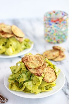 Fried Zucchini + Mint and Pistachio Pesto Pappardelle Pasta