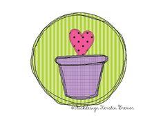 Blumentopf Doodle Stickmuster für eine Stickmaschine. Flower Doodle Appliqué embroidery for embroidery machines.