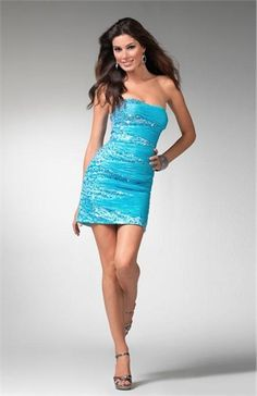 Turquoise Sparkly Short Homecoming Dresses Tight Waisted