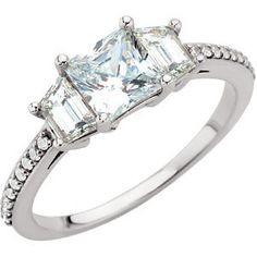 3-Stone Anniversary Ring with Trapezoid Side Stones