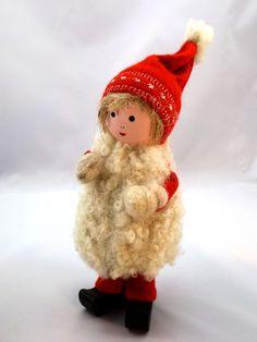 Girl Gnome in Sheepskin Coat, Swedish Elf, Nisse, Christmas Santa, Handmade Xmas Retro, 1990s Scandinavian Design Sweden Denmark Finland