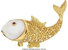 Estate Jewelry:Brooches - Pins, Colored Diamond, Diamond, Freshwater Cultured Pearl, Ruby, GoldBrooch. ...