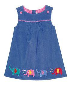 JoJo Maman Bébé Blue Elephant Pinafore Dress - Infant, Toddler