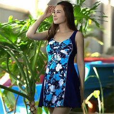 Hot Spring Natural relaxed Casual Dress Swimsuit Extra Large Size Skirt One Piece Floral Swimwear 2016 Brand