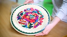 Plate with ukrainian ornament for rural home decor Ceramic dish for butter or a honey dish