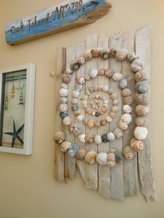 Your place to buy and sell all things handmade Beautiful natural Sharks Eye shell pieces arranged on Stone Crafts, Rock Crafts, Arts And Crafts, Driftwood Wall Art, Driftwood Crafts, Seashell Art, Seashell Crafts, Seashell Decorations, Seashell Projects