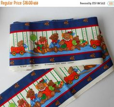 Teddy Bear border print fabric V.I.P Screen by MargsMostlyVintage