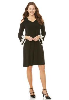 Cato Fashions Lace Trim Cold Shoulder Shift Dress-Plus Petite #CatoFashions