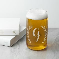 A fantastic gift for a lover of all things beer! Designed in the shape of a canthis beer glass is a fun way for him to enjoy his favourtie tipple. Hand etched with an initial. Made from glass. Holds up to of liquid. Personalised Glasses, Personalised Gifts For Him, Infinity Jewelry, Tea Box, Jewellery Boxes, Keepsake Boxes, Anniversary Gifts, Beer, Canning