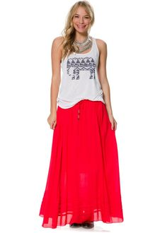 """See MoreBILLABONGProducts Item #BBG0206FAN  Gypsy style woven maxi skirt. Elastic waistband for easy pull on. Self tie drawcord with bead and wire trim. Tiered skirt. Length from center back to hem: 37 inches. 100% Cotton. Machine wash. Vendor style #: JK035FAN. Imported.  *Model is 5'11"""" wearing a size medium. Bust 32"""" Waist 25"""" Hips 34"""".  Perfect for festival season...barefeet and a graphic top like theBillabong Follow Them Racer Back Tankmake your look extra boho!"""