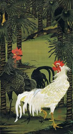 Figure Jakuchu rooster palm (palm tangible First). The yin and yang of chickens - click for more beautiful prints