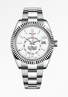 The Rolex Sky-Dweller, in white Rolesor, a combination of 904L steel and 18ct white gold, with a white dial and Oyster bracelet.