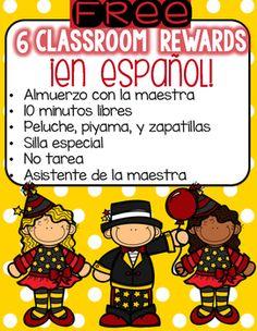 Enjoy this pack of six classroom rewards en espaol!Pack includesAlmuerzo con la maestraNo tareaSilla especialAsistente de la maestra10 minutos libresPeluche, piyama y zapatillas