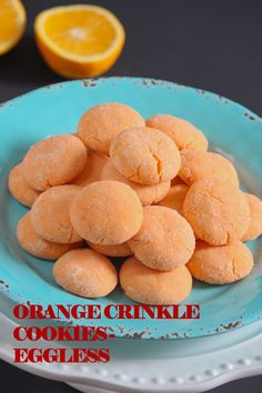Orange Crinkle Cookies – Eggless are soft and moist. These cookies are made with freshly squeezed orange juice. These light and sweet snowy cookies are like little sunshine and irresistible. Eggless Cookie Recipes, Eggless Baking, Baking Recipes, Snack Recipes, Dessert Recipes, Eggless Desserts, Oven Recipes, Cake Recipes, Deserts