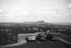 1950 View of Honolulu from The National Memorial Cemetery of the Pacific (Punchbowl) circa 1950. The diagonal streak in the center below Diamond Head crater is the Ala Wai Canal which separates the district of Waikiki from the rest of the city.