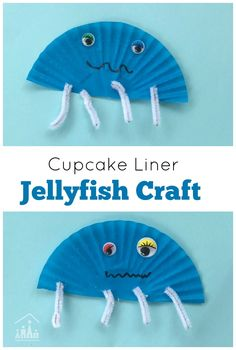 Cute Cupcake Liner Jellyfish Craft. A quick and easy craft for kids. Ideal for an Under the Sea Preschool Theme.