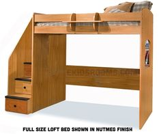 Berg kids furniture Utica Dorm Loft 23-835 and 23-905 twin Full Bed with stairs and desk