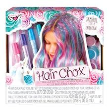 Stand out from the crowd and sparkle like a unicorn with the Unicorn Magic Hair Chox Glitter Hair Kit by Fashion Angels.