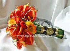photos of Orange Calla Lily Wedding Bouquet