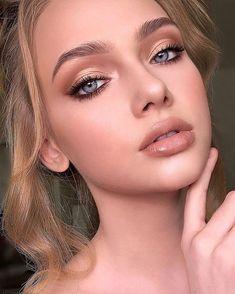 Brunette Makeup, Nude Makeup, Blue Eye Makeup, Bridal Makeup For Green Eyes, Makeup Shayla, Brown Makeup Looks, Soft Bridal Makeup, Natural Makeup For Brown Eyes, Burgundy Makeup