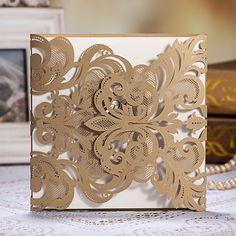 affordable laser cut lace pocket wedding invites EWWS002