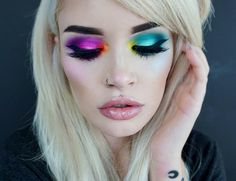 Get Ready for the Weekend With This Colorful Makeup Trend Rainbow Eyeshadow Colorful Makeup ready Trend weekend Makeup Goals, Love Makeup, Makeup Inspo, Makeup Inspiration, Makeup Tips, Hair Makeup, Makeup Ideas, Makeup Products, Hair Products