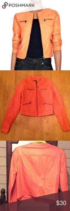 Orange faux leather jacket Orange faux leather jacket with four front zipper pockets and two front chest pockets. Jacket is form fitted. Only been worn a handful of times and looks brand new!! The Limited Jackets & Coats