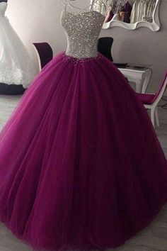 Beautiful rosy tulle sequins prom dress, ball dress, princess long dress for teens #homecomingdresses