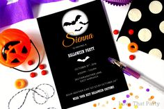 Unique kids custom Halloween Party Invitations, personalised, printable and spooktactularly gorgeous!! By Love That Party www.lovethatparty.com.au