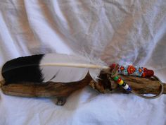 Smudge Feather, Hand Beaded, Handmade Native American by Oglala Lakota Artist by FaerieTeaAndTreasure, $35.00