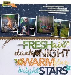 Bella Blvd Campout collection. Fresh Air layout by creative team member Lisa Dickinson.