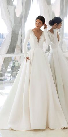 18 Of The Most Graceful Simple Wedding Dresses With Sleeves ❤ simple wedding dresses with sleeves princess plunging neckline pronovias ❤ Country Wedding Dresses, Modest Wedding Dresses, Bridal Dresses, Simple Wedding Dress With Sleeves, Wedding Dress Sleeves, Dress Wedding, Wedding Bride, Lace Bride, Wedding Ideas