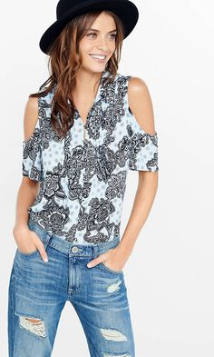 Medallion Floral Pintucked Bib Cold Shoulder Shirt | Express