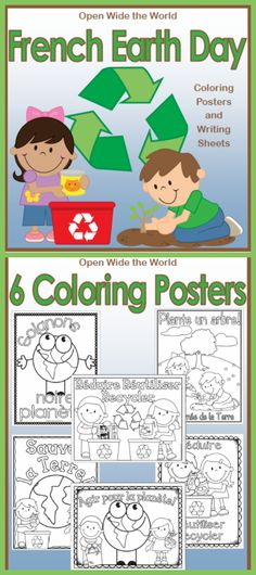 For FRENCH immersion / dual language programs. Decorate your French classroom with Earth Day coloring posters. 6 versions for your students to choose from (with bonus Québecois page). Plus 5 Earth Day themed writing sheets and a brainstorm prompt. ($)