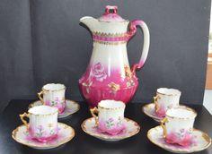 Limoges France Porcelain Chocolate Set Guerin by ChristiesCurios Antique Tea Sets, Tea Sets Vintage, Antique Dishes, Antique Plates, Vintage Teacups, Vintage Decor, Fancy Dishes, Small Tea, Tea Art