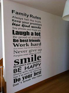 Palabras Pared Family Rules de wall-decals por DaWanda.com