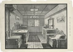 Mott Iron Works 1884 bath catalog. Bathroom interior illustrated in picture.