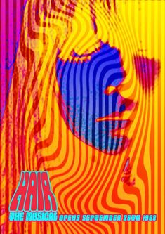 1968 Hair the Musical Psychedelic mounted photo print Music Love, Psychedelic, A4, Art Work, 1960s, Musicals, Neon Signs, Art Prints, Abstract