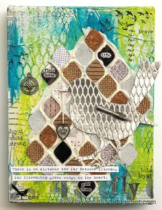 Layers of ink - Mesh Bird Canvas Tutorial by Anna-Karin. Made with Sizzix dies by Tim Holtz, and Tim Holtz stamps and stencils. Paints by Ranger.