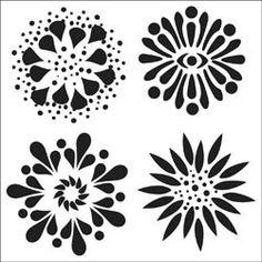 Sjabloon Bloemen 15 x 15 cm. / Template Flowers 6 x 6