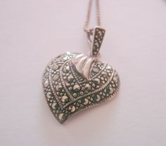 Sterling Marcasite Heart Pendant & Chain / Designer by JoysShop