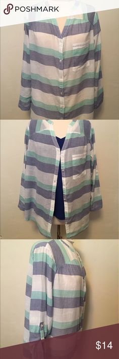 ☀️Semi-shear striped button down shirt with pocket Semi-shear striped button down shirt with full sleeves, option to button sleeves up to 3/4 length...size 2, (2X?) can be worn as swim coverup or layered with camisole, only worn once, but a tiny hole & faint stain above it on left front bottom of shirt as seen in pix 6&7...100% Cotton. Swim Coverups