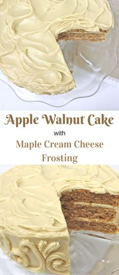 This homemade Apple Walnut Cake with Maple Cream Cheese Frosting is the BEST! Recipe by MyCakeSchool.com. Perfect for fall! via @mycakeschool