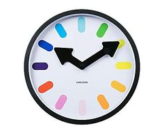 Colormanía by PRESENT TIME: Reloj de pared de acero Pictograma Rainbow – blanco