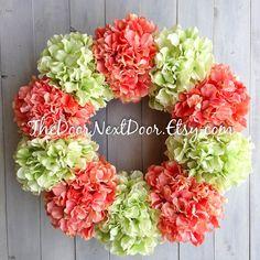 Hydrangea Front Door Wreath  Summer Wreaths  by TheDoorNextDoor