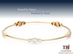 Started by nature finished by hand. Gold and Diamond bangle. #Lightweightjewellery #dailywearjewellery #gold #diamondbangle #tbjewellery #goldenmoments #officewear #diamonds #bangle #weddinggift