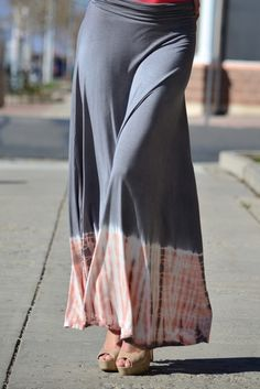 tie dye soft grey maxi skirt