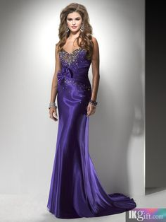 Glamorous Sheath Sweetheart Satin and Beadings Sweep Train Prom Dress
